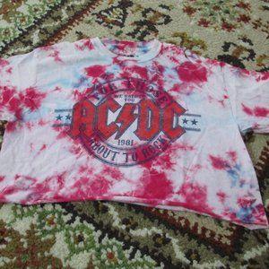 ACDC  Cut Off Crop Top Shirt Size Medium